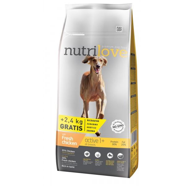 Nutrilove Active для активных собак с курицей 14 кг
