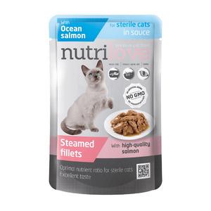 NutriLove пауч кусочки в соусе с атлантическим лососем для стерилизованых кошек 85 gr