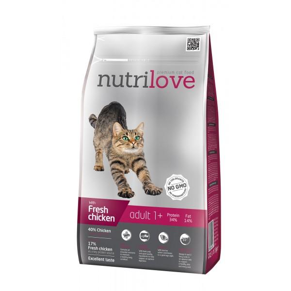 Nutrilove adult сухой корм для взрослых кошек со свежей курицей 8 кг