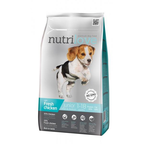 Nutrilove Junior для щенят средних и маленьких пород с курицей 1,6 кг