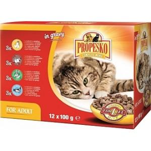 Propesko коробка пауч 12x100 г для кошек с курицей, говядиной, кроликом, лососем